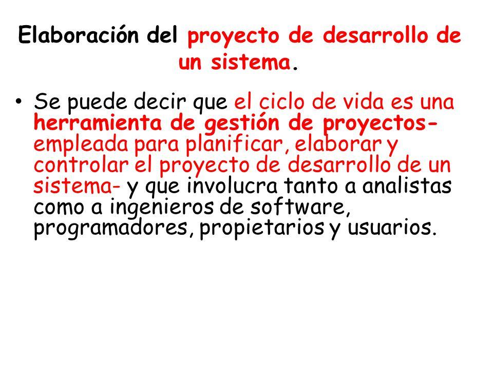 Elaboración del proyecto de desarrollo de un sistema.