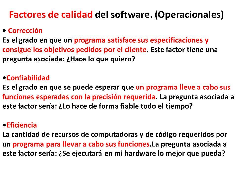 Factores de calidad del software. (Operacionales)