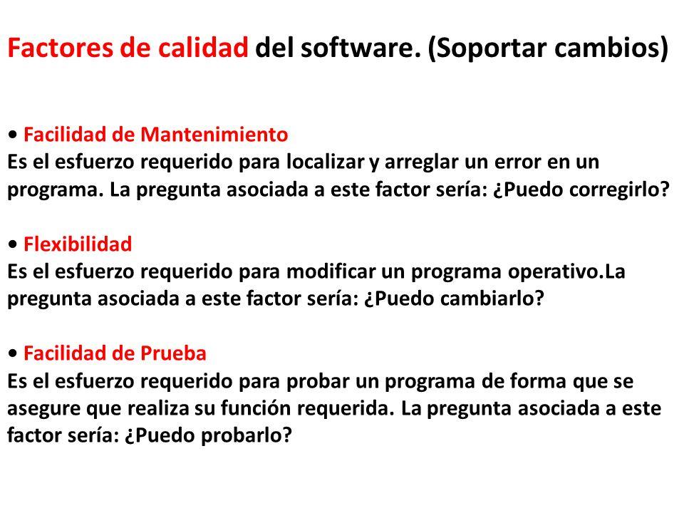 Factores de calidad del software. (Soportar cambios)