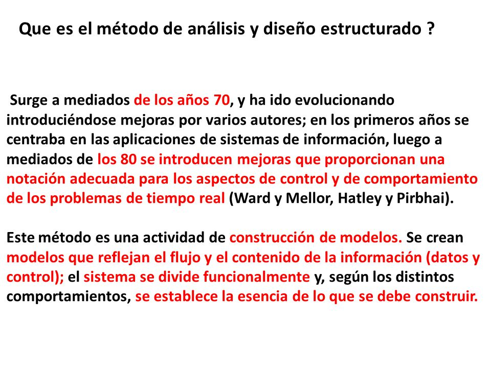 Que es el método de análisis y diseño estructurado