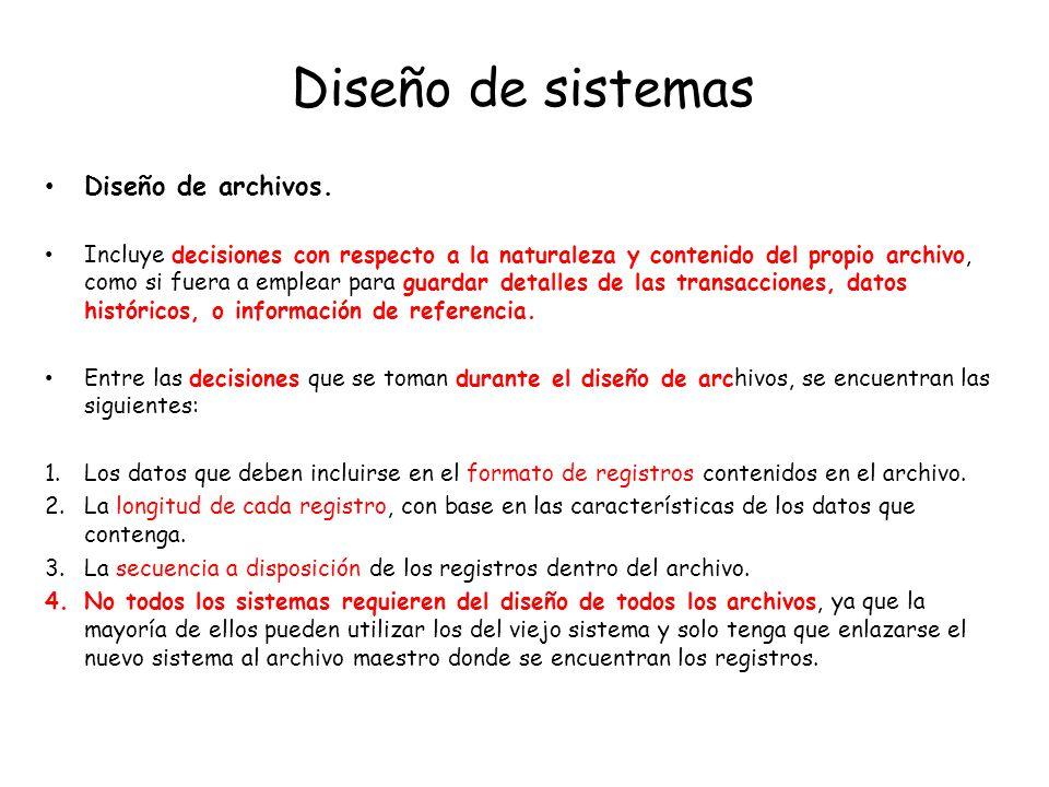 Diseño de sistemas Diseño de archivos.