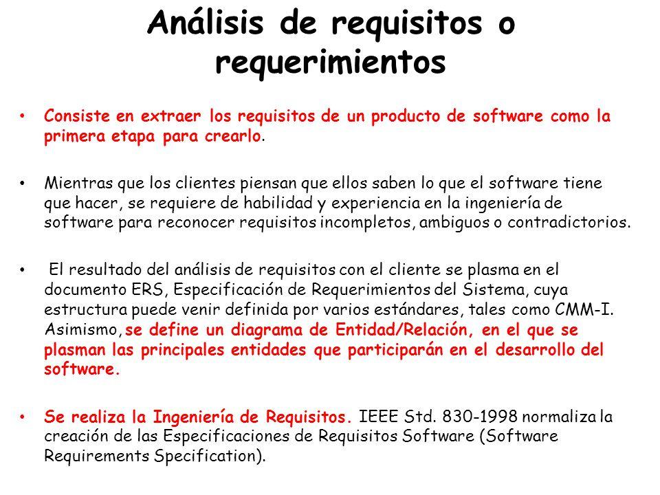 Análisis de requisitos o requerimientos