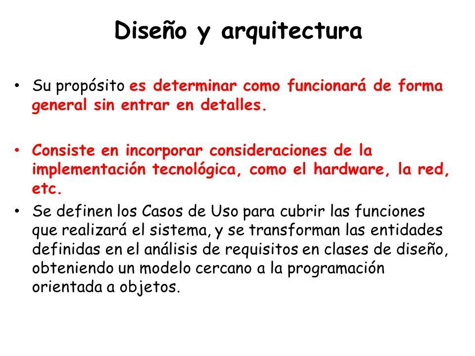 Diseño y arquitectura Su propósito es determinar como funcionará de forma general sin entrar en detalles.