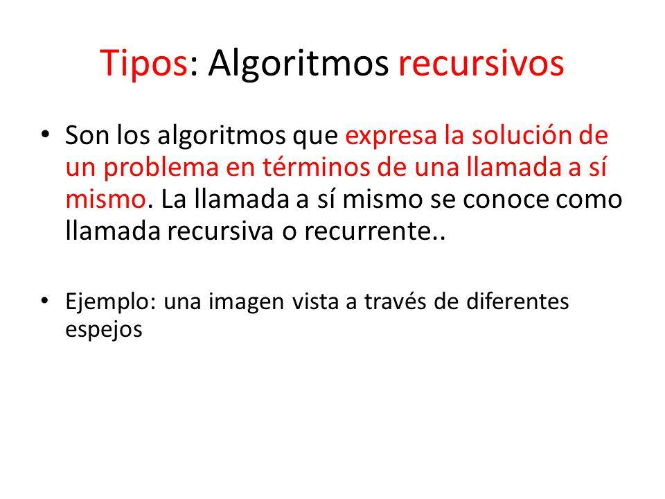 Tipos: Algoritmos recursivos