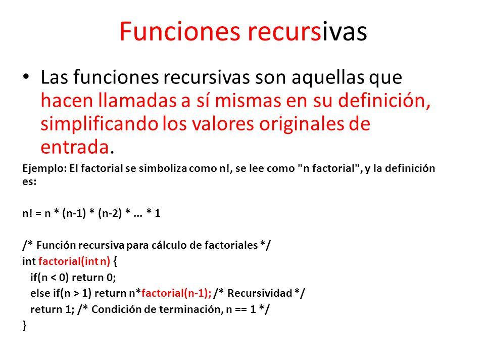 Funciones recursivas