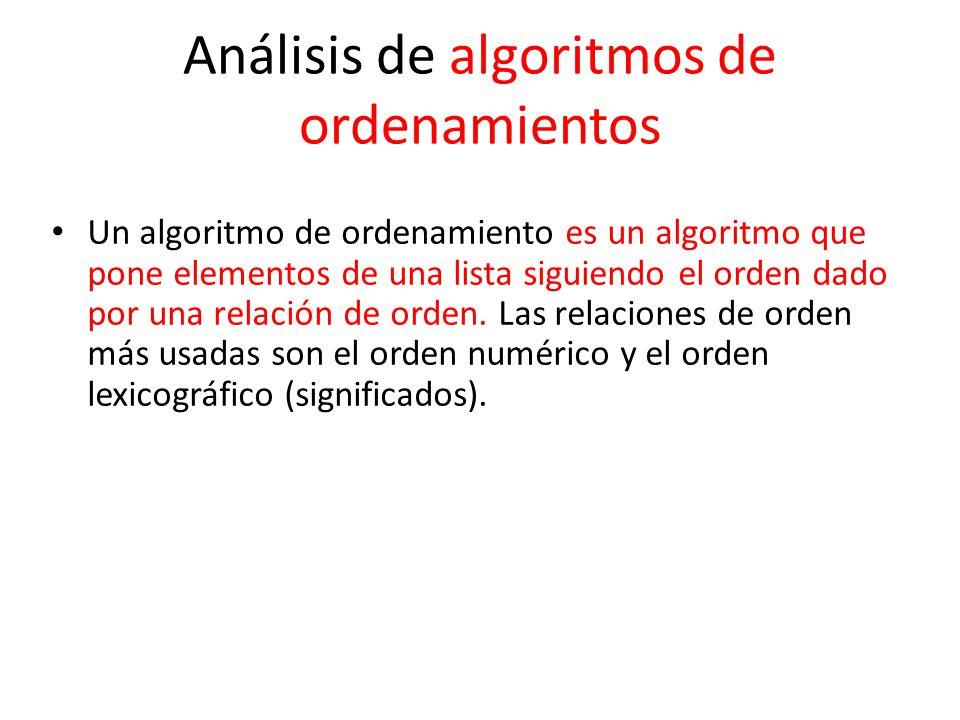 Análisis de algoritmos de ordenamientos