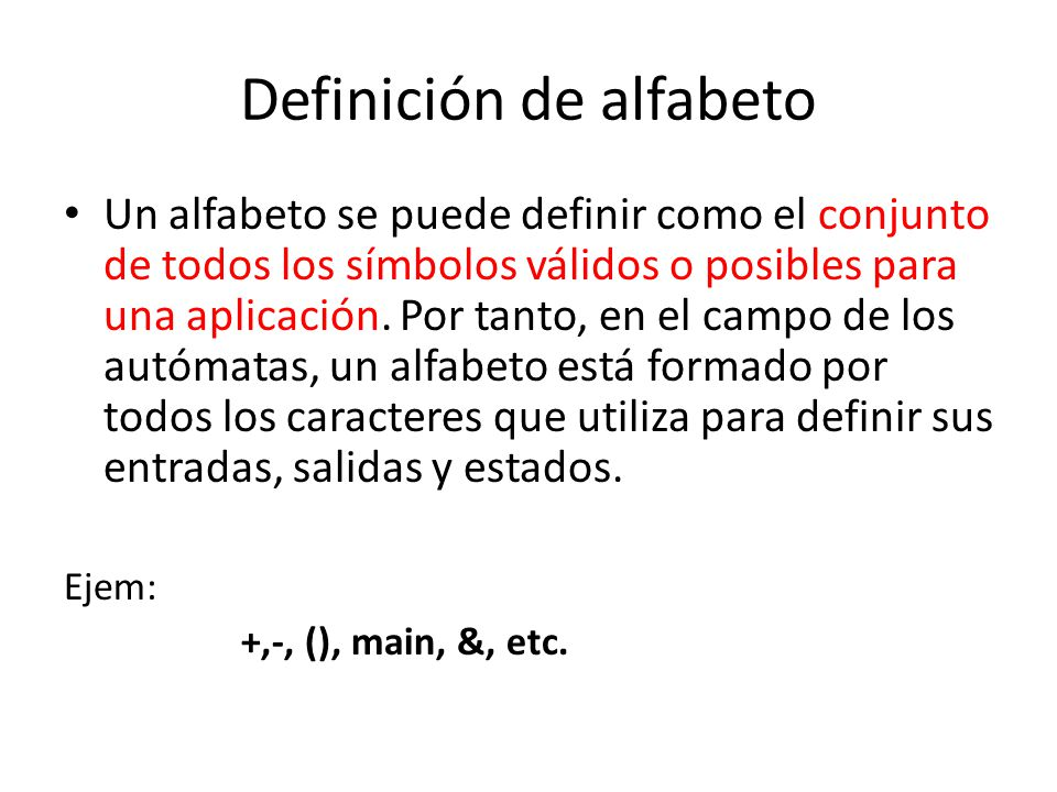 Definición de alfabeto