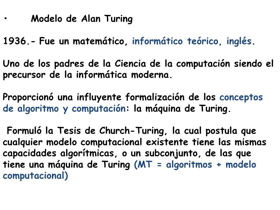 • Modelo de Alan Turing 1936.- Fue un matemático, informático teórico, inglés.