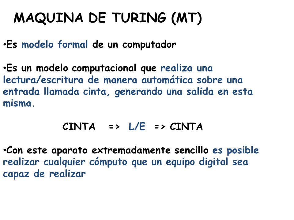 MAQUINA DE TURING (MT) Es modelo formal de un computador