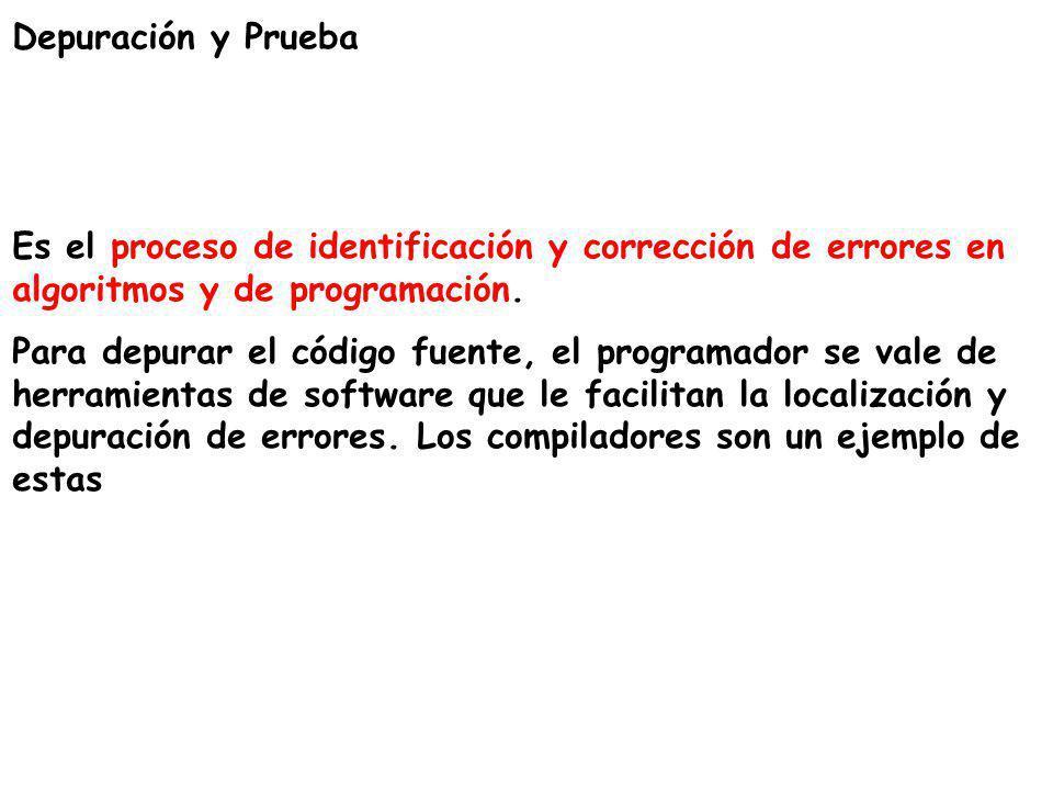 Depuración y Prueba Es el proceso de identificación y corrección de errores en algoritmos y de programación.