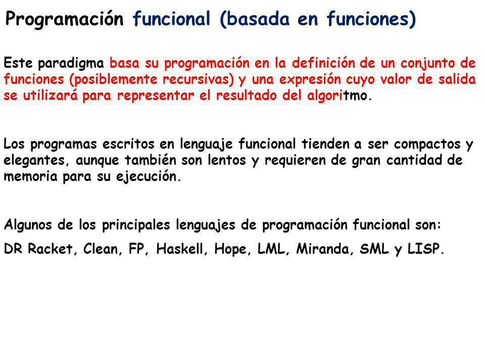 Programación funcional (basada en funciones)