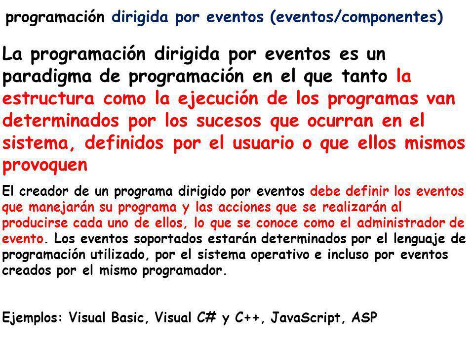 programación dirigida por eventos (eventos/componentes)