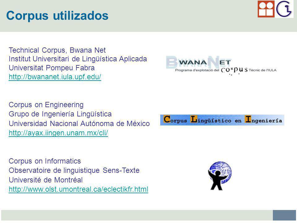Corpus utilizados Technical Corpus, Bwana Net
