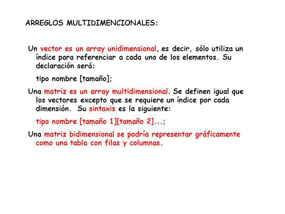 ARREGLOS MULTIDIMENCIONALES: