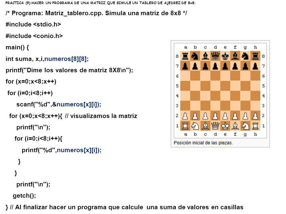 /* Programa: Matriz_tablero.cpp. Simula una matriz de 8x8 */