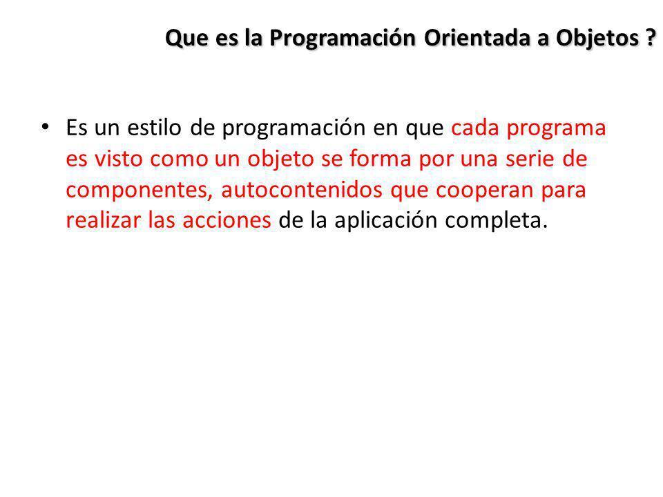 Que es la Programación Orientada a Objetos