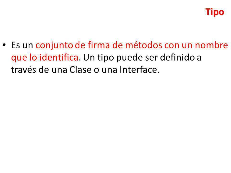 Tipo Es un conjunto de firma de métodos con un nombre que lo identifica.