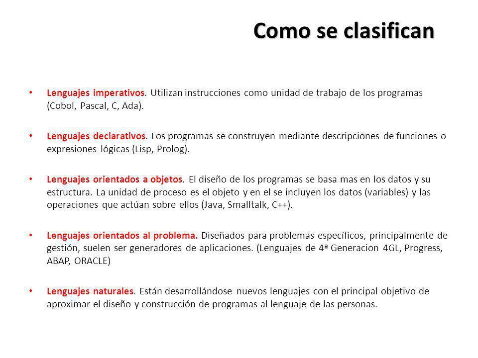 Como se clasifican Lenguajes imperativos. Utilizan instrucciones como unidad de trabajo de los programas (Cobol, Pascal, C, Ada).