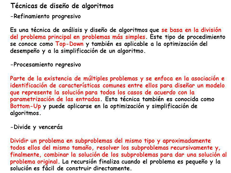 Técnicas de diseño de algoritmos