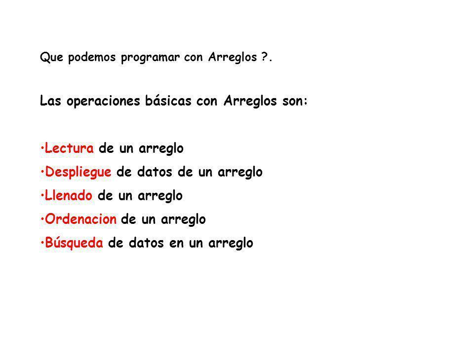 Las operaciones básicas con Arreglos son: