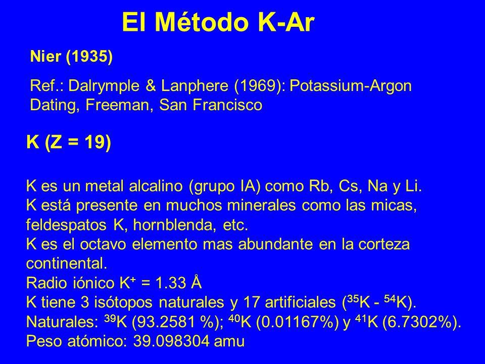 El Método K-Ar K (Z = 19) Nier (1935)