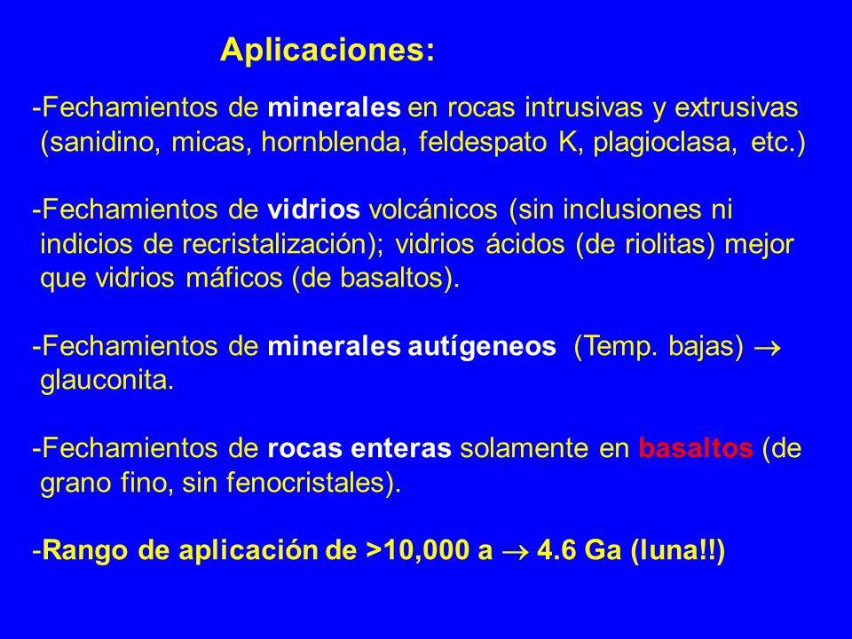 Aplicaciones: -Fechamientos de minerales en rocas intrusivas y extrusivas. (sanidino, micas, hornblenda, feldespato K, plagioclasa, etc.)