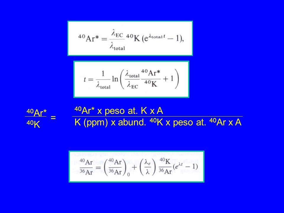 40Ar* 40K = 40Ar* x peso at. K x A K (ppm) x abund. 40K x peso at. 40Ar x A