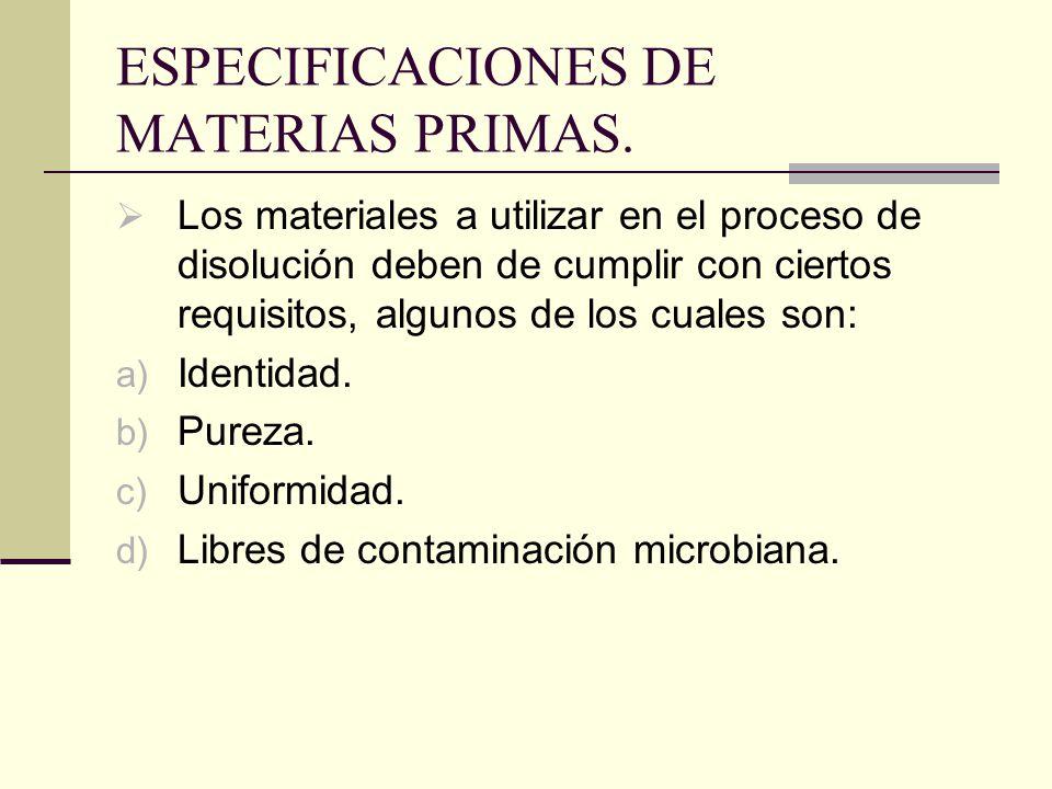 ESPECIFICACIONES DE MATERIAS PRIMAS.