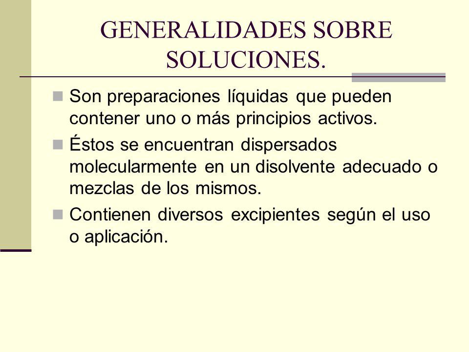 GENERALIDADES SOBRE SOLUCIONES.