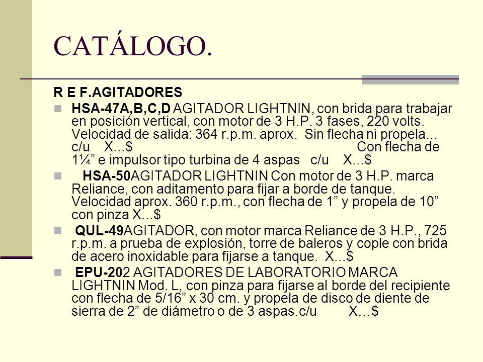CATÁLOGO. R E F.AGITADORES