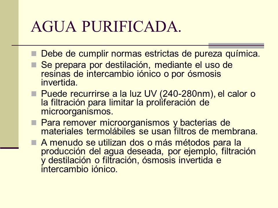 AGUA PURIFICADA. Debe de cumplir normas estrictas de pureza química.