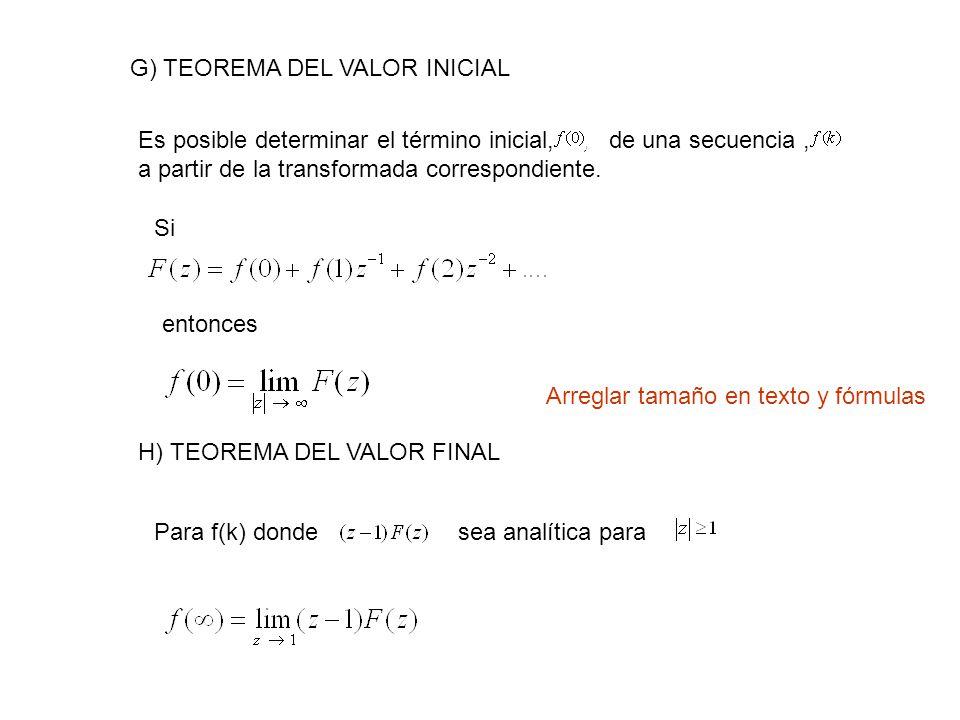 G) TEOREMA DEL VALOR INICIAL