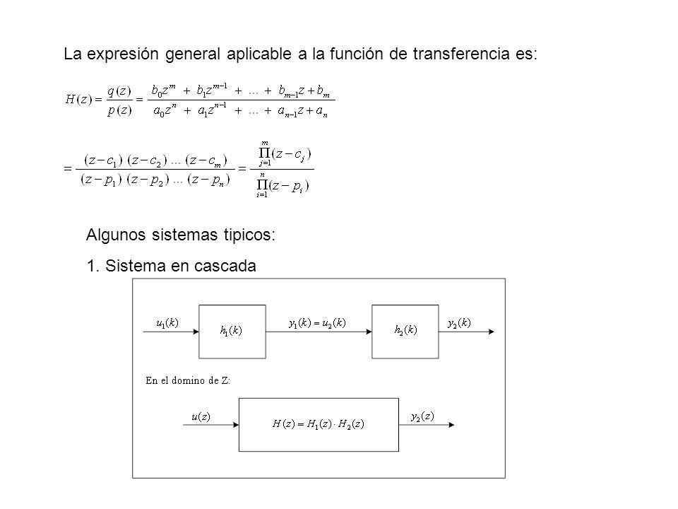 La expresión general aplicable a la función de transferencia es: