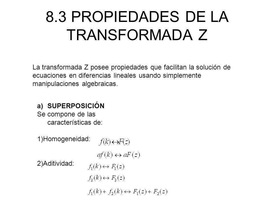 8.3 PROPIEDADES DE LA TRANSFORMADA Z
