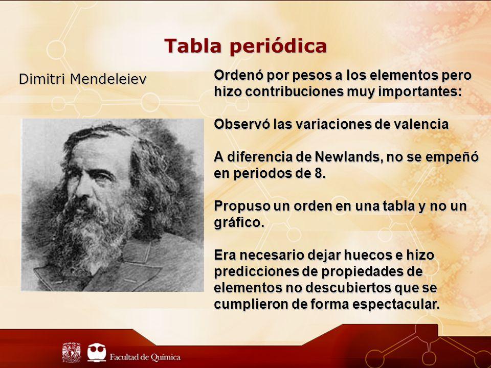 Tabla periódica Ordenó por pesos a los elementos pero hizo contribuciones muy importantes: Observó las variaciones de valencia.