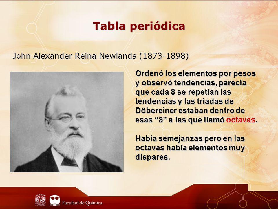 Tabla periódica John Alexander Reina Newlands (1873-1898)