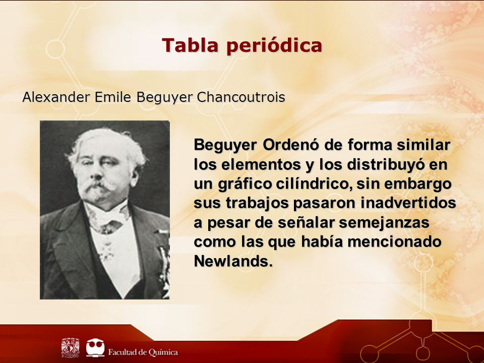 Tabla periódica Alexander Emile Beguyer Chancoutrois.