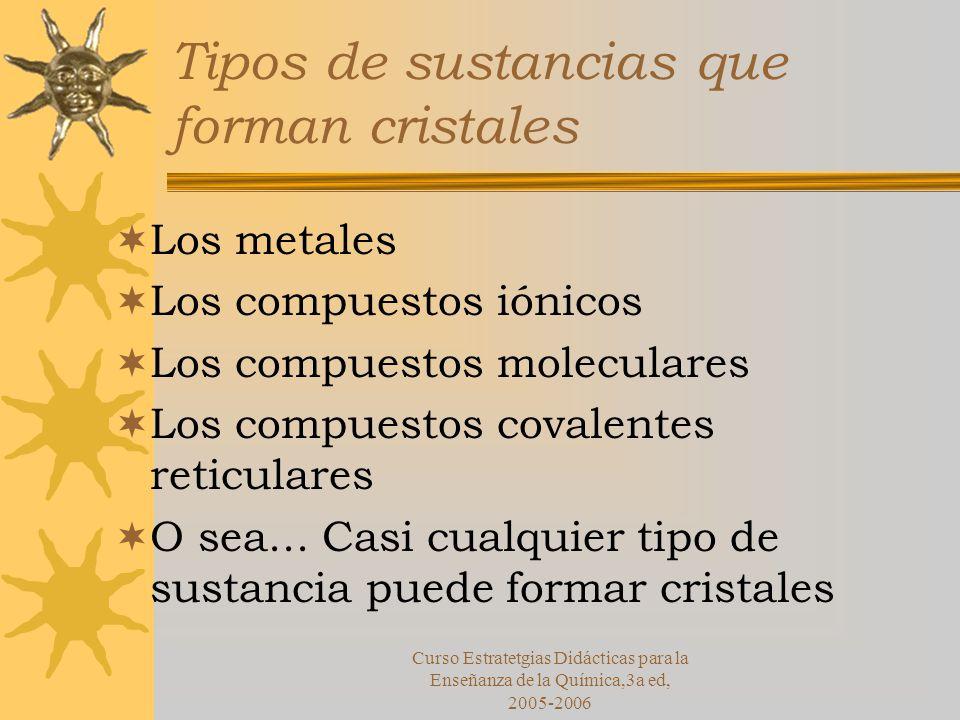 Tipos de sustancias que forman cristales