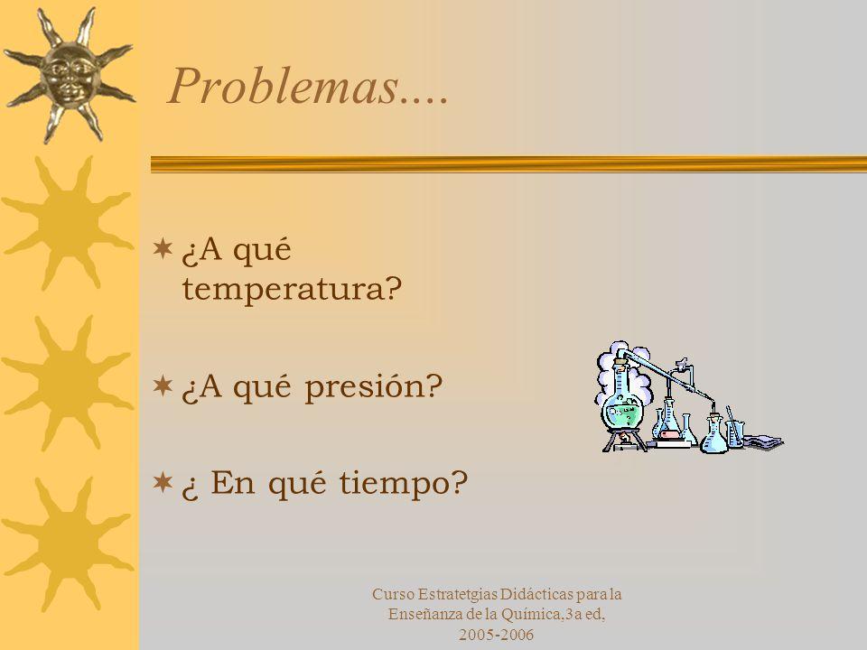 Problemas.... ¿A qué temperatura ¿A qué presión ¿ En qué tiempo