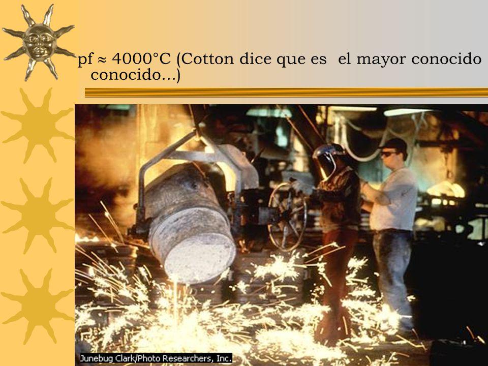 pf  4000°C (Cotton dice que es el mayor conocido conocido...)