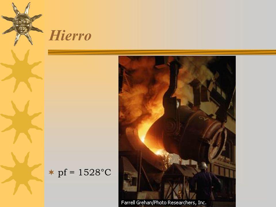 Hierro pf = 1528°C Curso Estratetgias Didácticas para la Enseñanza de la Química,3a ed, 2005-2006