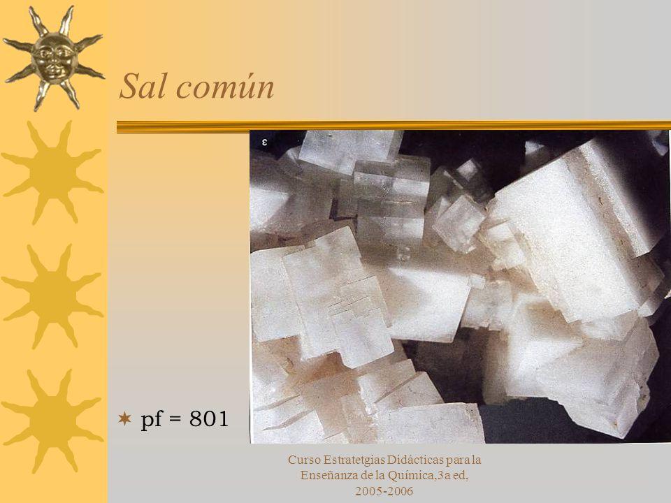 Sal común pf = 801 Curso Estratetgias Didácticas para la Enseñanza de la Química,3a ed, 2005-2006