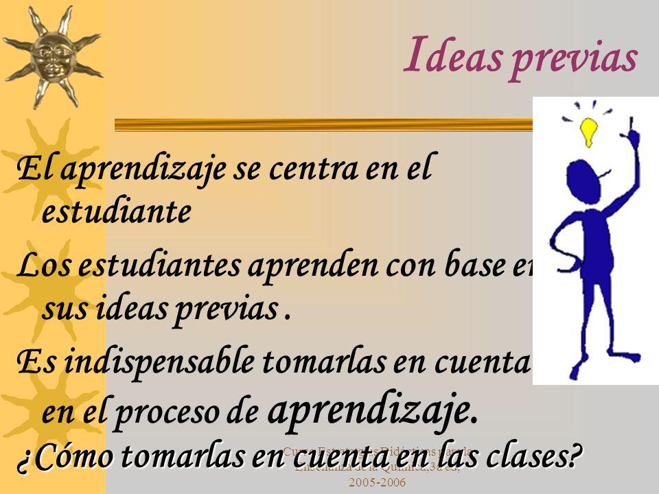 Ideas previas El aprendizaje se centra en el estudiante