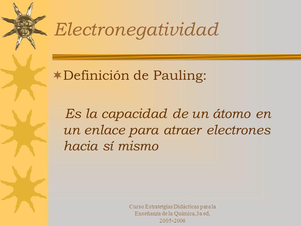Electronegatividad Definición de Pauling: