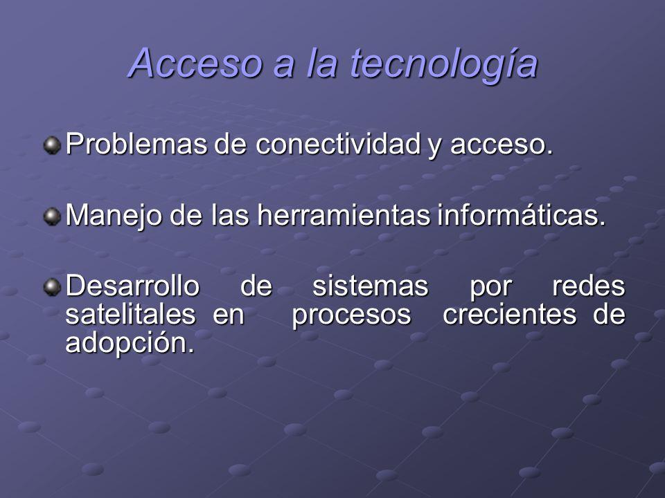 Acceso a la tecnología Problemas de conectividad y acceso.