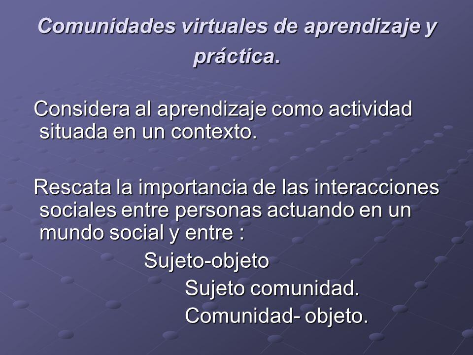 Comunidades virtuales de aprendizaje y práctica.