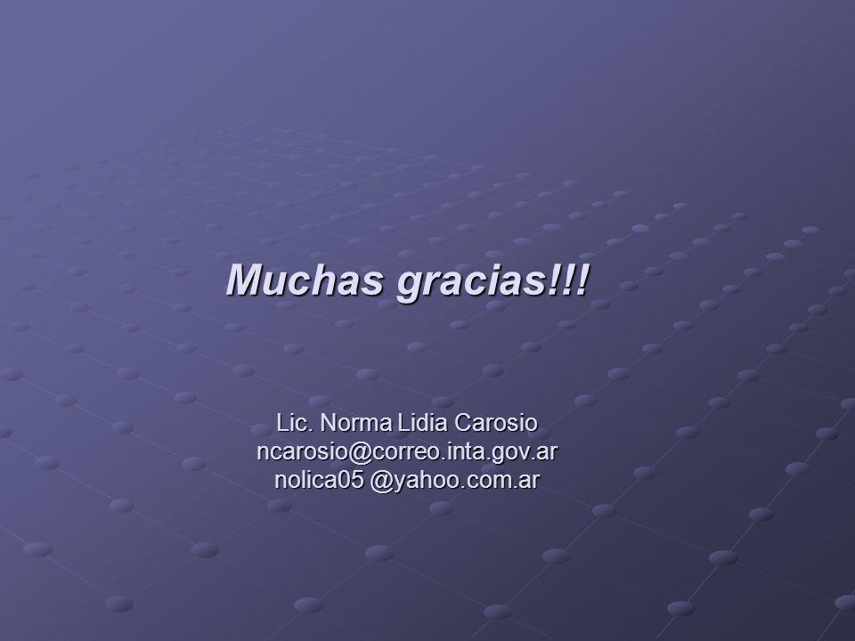 Muchas gracias. Lic. Norma Lidia Carosio ncarosio@correo. inta. gov