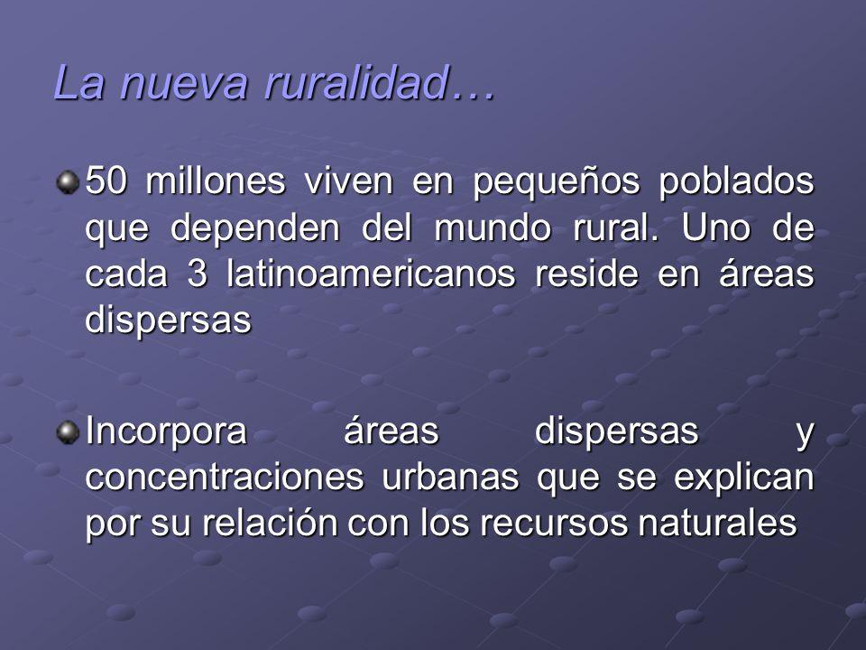 La nueva ruralidad… 50 millones viven en pequeños poblados que dependen del mundo rural. Uno de cada 3 latinoamericanos reside en áreas dispersas.