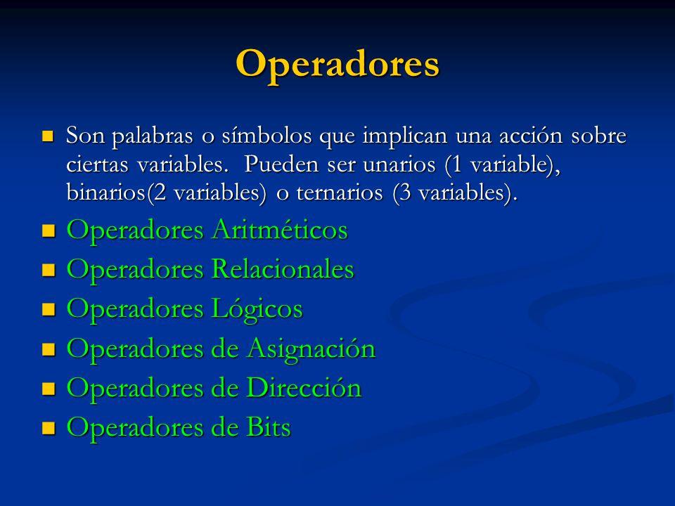 Operadores Operadores Aritméticos Operadores Relacionales