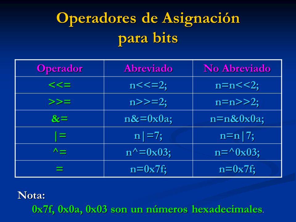 Operadores de Asignación para bits